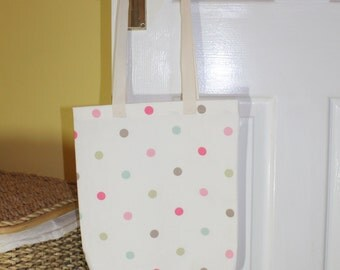 Shopping bag, tote bag, market tote, shopping tote, library bag - multicolour spots print