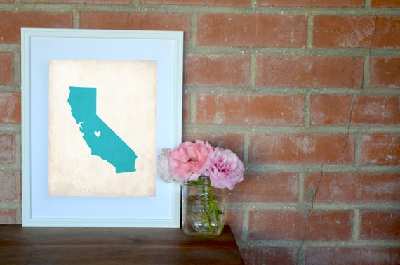 California Rustic State Map, Personalized California Art, Wedding Map, Wedding Gift, Anniversary Gift, 8x10 Art Print