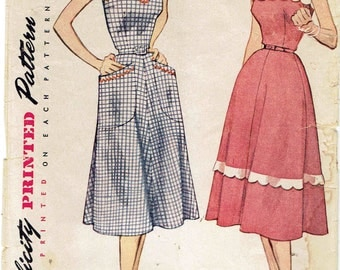 50s Sleeveless Dress Pattern Simplicity 3875. Sweetheart or Square Neck w/ Scallops, Wide Shoulder Straps and Pockets. Size 14 Bust 32 in.