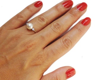 Pearl and Diamonds Engagement Ring, Pearl and Diamonds Gold Ring, Dainty 14K Pearl Ring, Delicate Pearl Ring, Thin Pearl Band