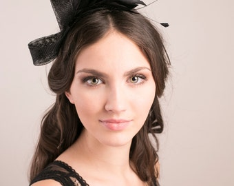 Millinery fascinator with feather spray, special occasion headpiece, bridal headpiece