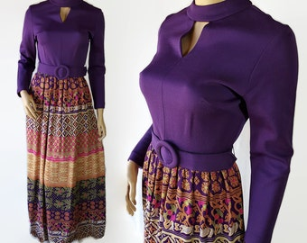 60s 70s Mod Maxi Dress Purple Novelty Print Hippie Boho