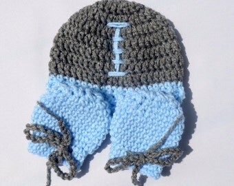 Baby Football Hat, Matching Mittens, Newborn Football Set, Photography Prop, Baby Boy Hat, Baby Girl Mittens, Sports Set, Blue Infant Set