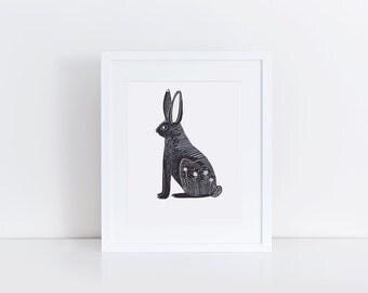 Hare Print / 5x7 Original Illustration Print / Folk Art / Black and White / Rabbit Art