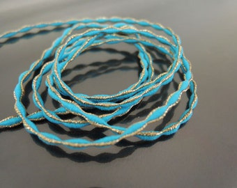 Elastic Cord 2.5mm - Turquoise Blue with Metallic Gold Stretch Elastic Drawcord Rope Cord ( 1 , 5 or 10 Yards )
