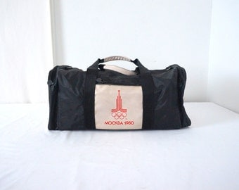 Vintage Moscow Olympics 80s Duffel Bag With Canvas Straps