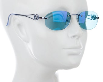 "90s VALENTINO Baby Blue Cyber Mirrored Metallic / Holographic Minimal Frameless Oval Eye Round Sunglasses w/ Metal ""V"" Arms"