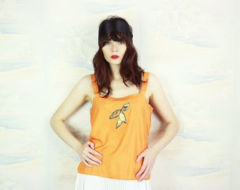 vintage tank top,cotton Top,size medium to large,appliqué top.1970s,orange tank top
