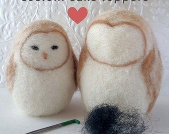 Custom Owl Wedding Cake Toppers - Needle Felted - Made to Order