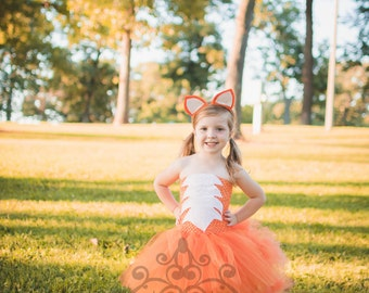 Fox Tutu Dress - Girls Size 12 18 Months 2T 3T 4T 5 6 7 8 9 10 12 ...Birthday, Photo Prop, Dress Up, Costume - Orange White Bushy Tail