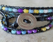 Crystal and Leather Wrap Bracelet