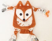 Mini Fox Baby Tag Animal Lovey Blanket Pacifier On The Go Toy