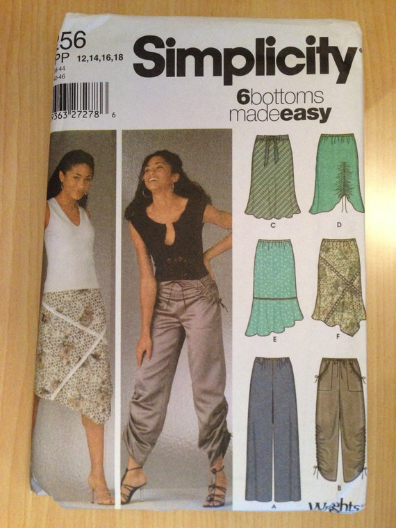 Simplicity 5256 Sewing Pattern Uncut Misses Pill on Pants and Bias Skirts Size 12-18