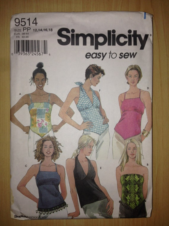 Simplicity 9514 Sewing Pattern Misses Summer Tops Size 12-18