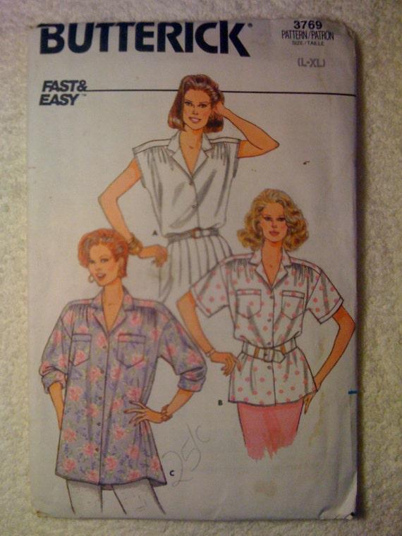 Butterick Sewing Pattern 3769 70s Misses Blouses Size L-XL Uncut