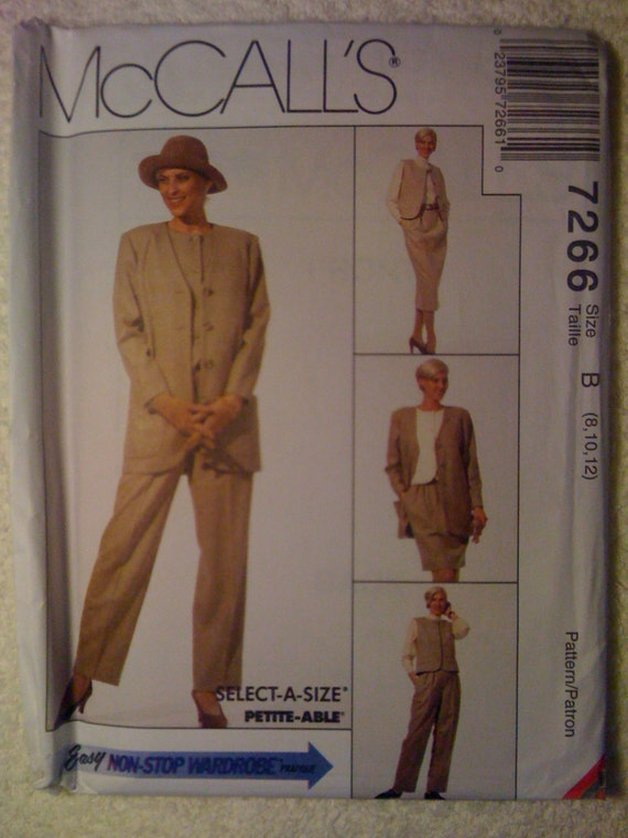 McCalls Sewing Pattern 7266 90s Uncut Misses Unlined Cardigan, Vest, Skirt in Two Lengths and Pants Size 8-12