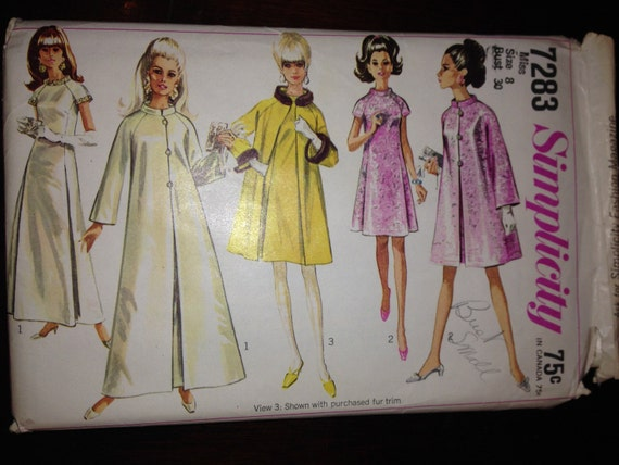 Simplicity Sewing Pattern 7283 Misses Coat and Dress in Two Lengths Vintage 60s Size 8 Bust 30