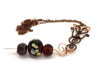 Copper Lampwork Necklace - Plum Purple and Butter Yellow on Copper, Glass Beaded Necklace