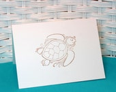 Set of 6 Hand Stamped Sea Turtle Cards