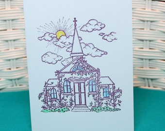 Set of 5 Hand Stamped Church Note Cards
