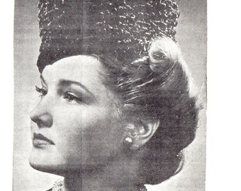 1940s Fashion Persian Lamb Fez Millinery Hat Instant PDF Digital Download Knit Pattern WWII Style Women's Cap Instructions