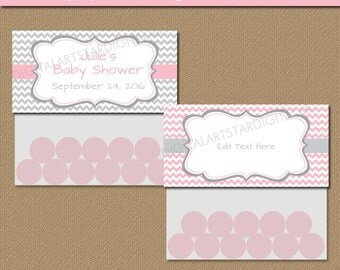Treat Bag Toppers - Pink and Gray Party Favors - Printable Baby Shower Favor Bag Toppers Birthday Party Goodie Bag Toppers Download - PGC
