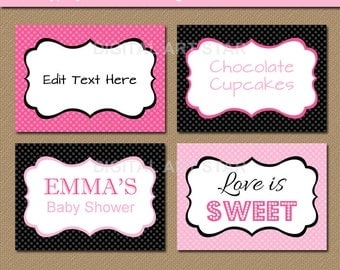 EDITABLE Pink Black Printable Labels, Buffet Cards, Tent Cards, Food Labels - INSTANT DOWNLOAD - Bridal Shower Labels - Birthday Labels