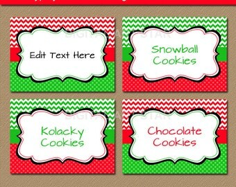 Printable Christmas Food Cards, Buffet Cards, Labels, Tent cards, DIY Candy Buffet Labels - Red Green Christmas Party Printables Download C4
