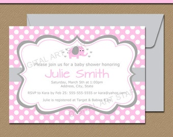 Pink Elephant Baby Shower Invitations, Pink and Grey Elephant Baby Shower Invites, Girl Baby Shower Invites, Pink Elephant Birthday Invites