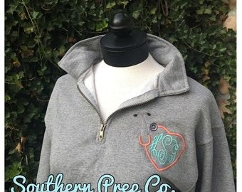 Stethoscope Monogrammed Ladies QUARTER ZIP PULLOVER