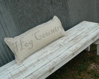 Drop Cloth Hog Country Pillow