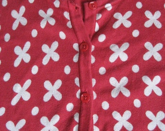 Red Tan X-Dot Sweater - Button Up Cardigan - 3/4 Sleeves - !00% Cotton Knit - Ladies Large