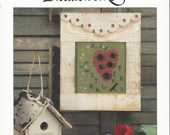 """Clearance-""""Folk Art Strawberry"""" Counted Cross Stitch by Cinnamon Heart Needleworks"""