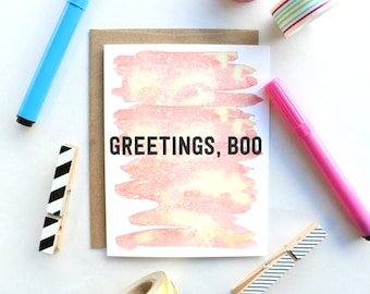 Greetings Boo Greeting Card