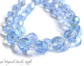 Lavender Blue Beads, 6mm Beads, Blue Lavender Crystals, Faceted Glass Crystals, Fire Polished Glass Beads, DIY Jewelry Making - 34 Pieces