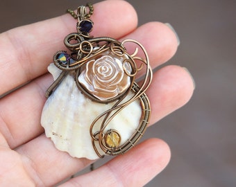 Sea shell wire wrapped necklace pendant Steampunk Flower Antiqued brass Fairy Gifts for her Girlfriend Nature jewelry Handmade jewelry