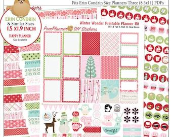 Winter Wonder Printable Planner Kit  3 PDFs, EC or Happy Planner, Pink, Red, Green, Snow, Winter,