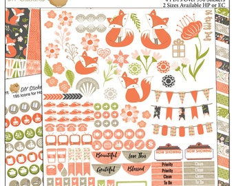 Planner Kit!  Foxy Printable Planner Stickers Kit  4 PDFs, EC or Happy Planner, Washi,  Icons, ADORABLE Clip Art
