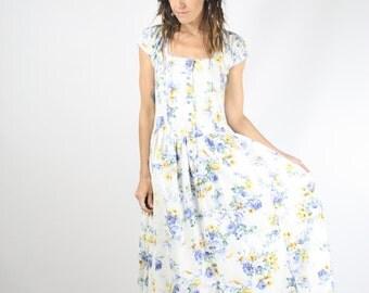 80s Cotton Floral Dress, Vintage Summer dress Cap sleeves Fishtail hem Pockets Picnic dress Tea dress, Ishwar, XS