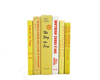 Yellow Decorative Books, Book Decor, Book Collection, Old Books, Book Set, Vintage Books, white books, interior design, Home decoration