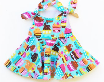 Last One - Cupcake Baby Dress - Toddler Girls Party - Spring Summer Outfit - Baby Birthday - Birthday Dress - Baby Shower -  Custom Made USA