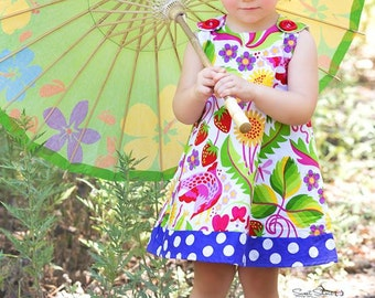 Strawberry Serenade Bright Birds Butterfly Heart - Handmade Infant Dress - Baby Dress - Girls Dress - Spring Girls Dress -  3M to 4T