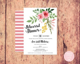 Classic Floral Rehearsal Dinner Invitation, Wedding Stationary, Wedding Rehearsal Dinner DIY Printable -  Lovely Little Party