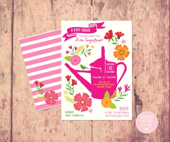 Garden Party themed Baby Shower Invitation, floral baby shower, bright flowers garden invite - Lovely Little Party