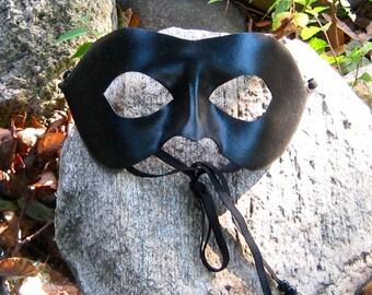 Black Leather Eyemask, Leather Chat Noir Mask, Miraculous Black Cat Adult Sized Cosplay Mask, Handcrafted Leather Superhero Mask