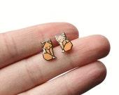 Miniature Origami Fox Plastic Stud Earrings 1cm