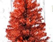 Retro Orange Aluminum Tree Table Top 24 Inches Vintage Tinsel Christmas Tree