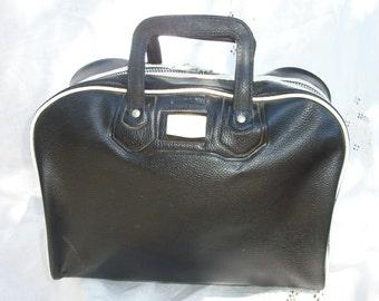 Retro Vintage Black & White tone Bowler Style Bag ~ Metal Zipper ~ Unisex Men's Women's ~ Travel / Overnight / Gym ~ Great Size