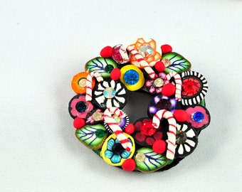 Sparkly Christmas Wreath Brooch, Swarovski Crystals, Bright, Colorful Bling, Mille Fiori, OOAK,