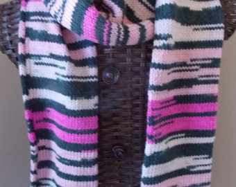 Pink Super Scarf, pink and black wool scarf, long neck warmer, pink stripes scarf, long thick scarf, pink and buff stripe, bubblegum pink